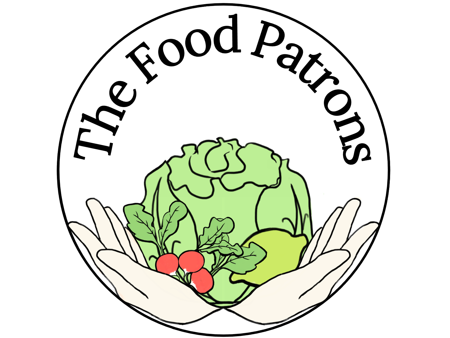 Logo of The Food Patrons - Hands holding fresh food