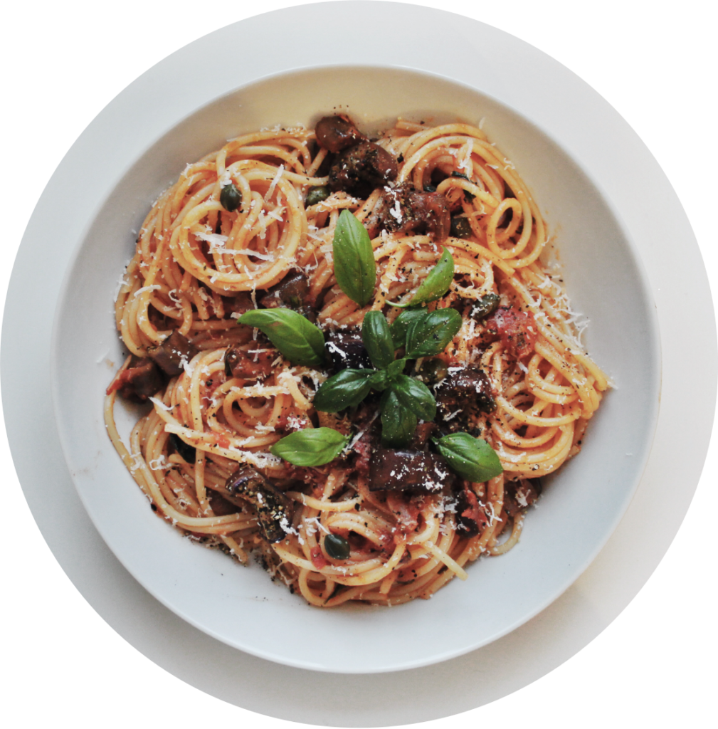 """Here you can see spaghetti alla norma, that the food patrons cooked out of eggplants from their """"magic bag"""" to avoid food waste."""